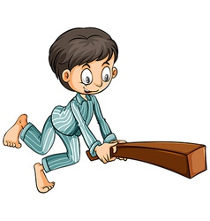 Boy holding a wood vector image