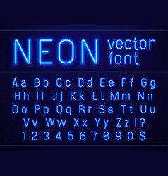 Bright glowing blue neon alphabet letters and vector
