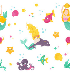 Bright pattern with cute mermaids dophin fishes vector