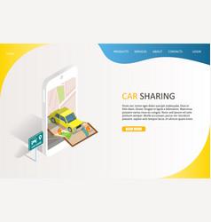 Car sharing service landing page website vector