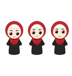 Cartoon girls with hijab vector image