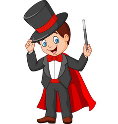 cartoon magician holding magic wand vector image