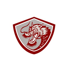 Chinese Red Dragon Head Shield vector image