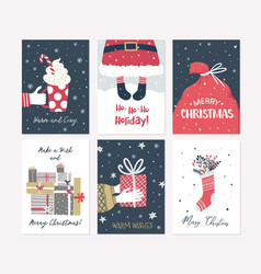 Christmas and new year card collection in hand vector