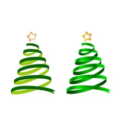 Christmas ribbon trees vector