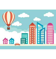 City with houses and office buildings vector