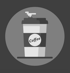 Coffee cup icon with text coffee on grey vector