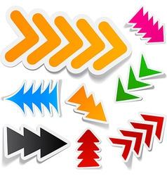 Color arrows sticker set vector