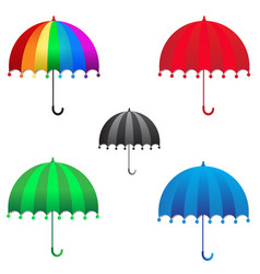 colorful rainbow umbrella on white background vector image