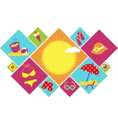 colorful set of summer icons vector image