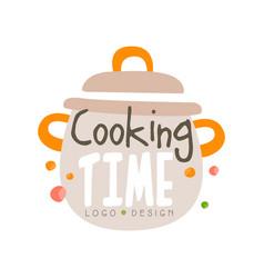 cooking time logo design kitchen emblem vector image