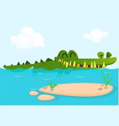 Cute crocodile lizard cartoon swimming vector