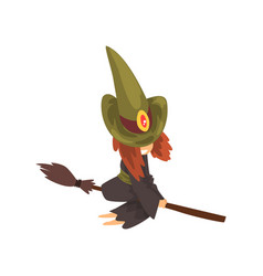 Cute little witch character in green hat flying vector