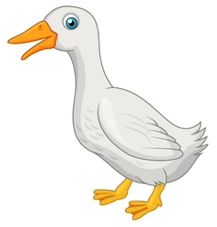 Cute white duck cartoon vector