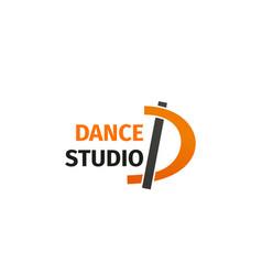Dance studio letter d icon vector