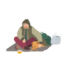 Depressed homeless guy dressed in dirty clothes vector