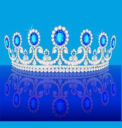 diadem crown female tiara with precious stones vector image