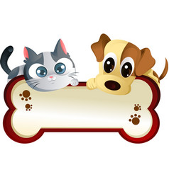 dog and cat with banner vector image