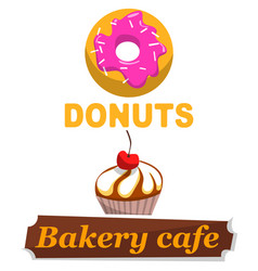 donuts bakery cafe banners meal snacks dessert vector image