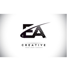 Ea e a letter logo design with swoosh and black vector