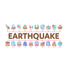 Earthquake disaster minimal infographic banner vector