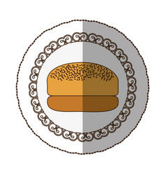 Emblem hamburger bread icon vector