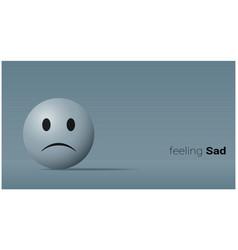 Emotional background with sad blue face emoji vector