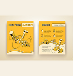 Engine pistons booklet isometric template vector
