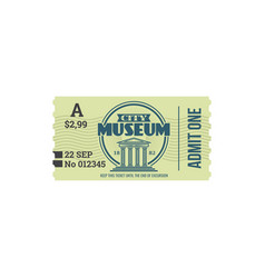 Entry ticket to city history museum isolated card vector