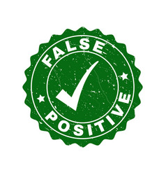 false positive grunge stamp with tick vector image