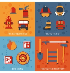 Firefighter Flat Set vector image