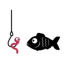 fish and worm on a hook vector image