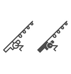 Fishing rod line and glyph icon spinning vector