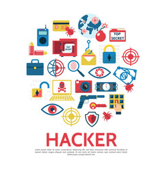 flat hacking round concept vector image