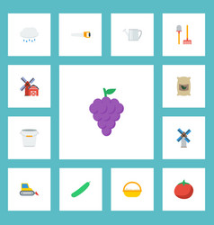flat icons hacksaw vegetable rain and other vector image