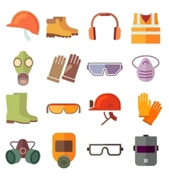 Flat job safety equipment icons set vector
