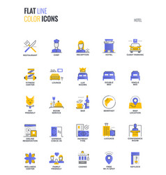 Flat line multicolor icons design-hotel vector