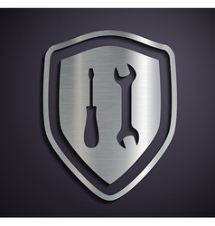 Flat metallic logo shield with tools vector