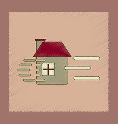 Flat shading style icon wind destroys house vector