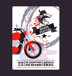 Flyer with contact biker festival and motorshow vector