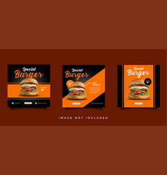 food and culinary social media promotion template vector image