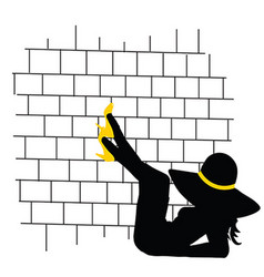 Girl pretty front of brick wall silhouette vector
