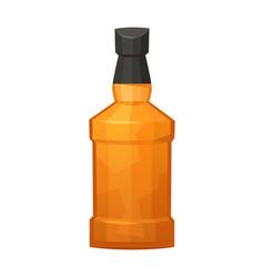 Glass bottle whiskey on white background vector