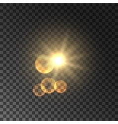 Golden spot light with lens flare effect vector image