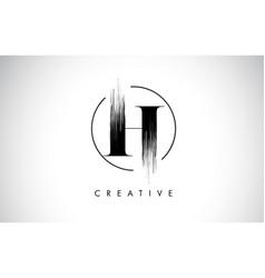 H brush stroke letter logo design black paint vector