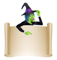 halloween witch scroll vector image