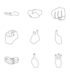 Hand gestures set icons in outline style big vector