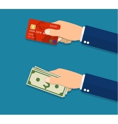 Hands holding credit card and money bills vector image