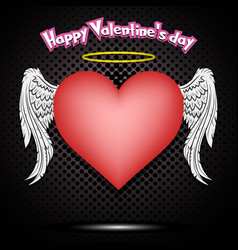 happy valentine day heart with wings and nimbus vector image