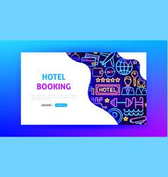 hotel neon landing page vector image